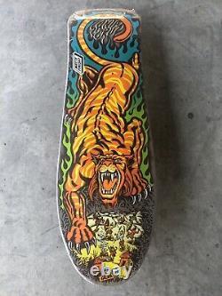 New Santa Cruz SALBA Tiger Skateboard Deck Reissue Steve Alba-Blue/Green Flame
