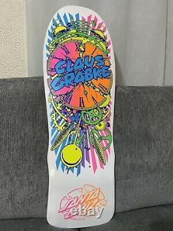 Rare Santa Cruz Claus Grabke Reissue Skateboard Deck Exploding Clock White nos