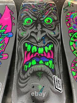 Santa Cruz Skateboard Deck black light Set Slasher Roskopp Face Kendall Snake