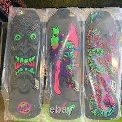 Set of 3 Santa Cruz Blacklight Reissue Skate Decks Roskopp Kendall Slasher